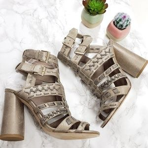 DONALD J. PLINER Taupe Bindy Caged Leather Sandals